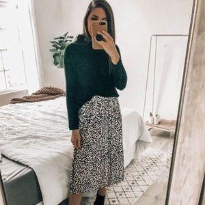 Leopard Print Rayon Button Up Tie Waist Midi Skirt